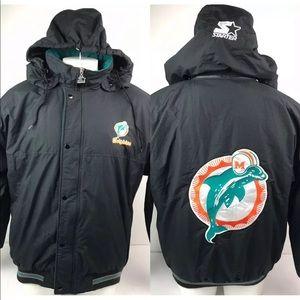 Vtg Miami Dolphins Starter Jacket w Detach Hoodie
